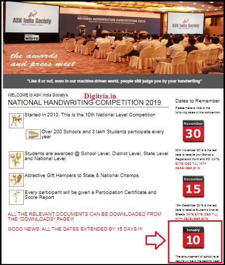 National Handwriting Competition Results Step 2