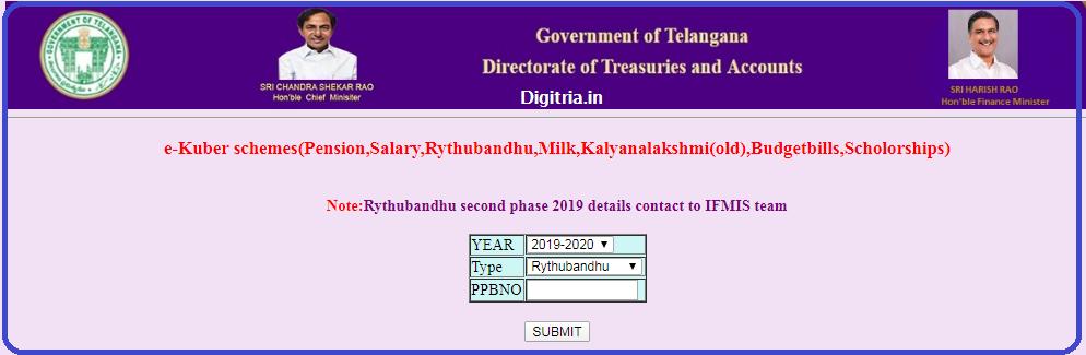 Rythu Bandhu Status page 1