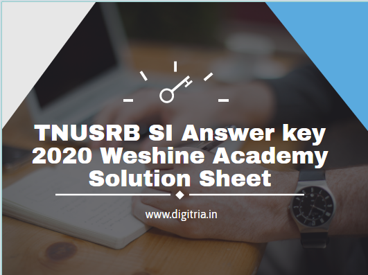 11th 12th Jan TNUSRB SI Answer key 2020