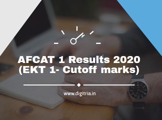 AFCAT 1 Results 2020