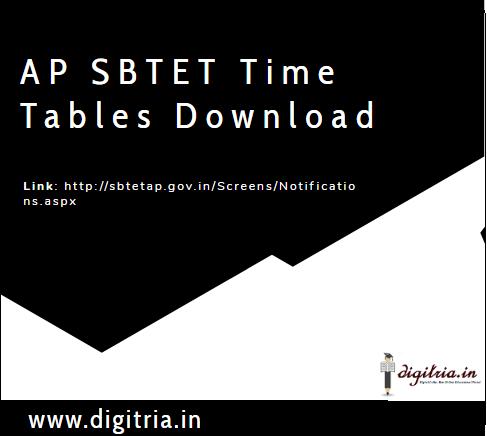 AP SBTET Time Table April