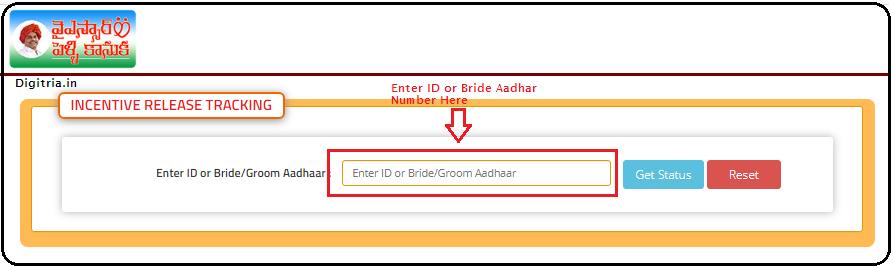 Enter ID or Bride/Groom Aadhaar Number