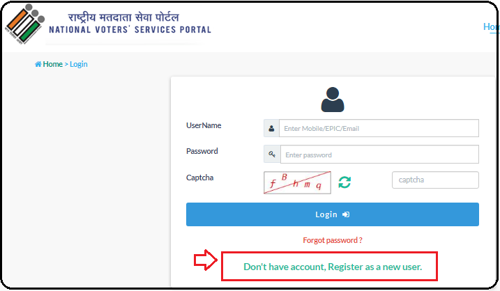 Click on register as a new one