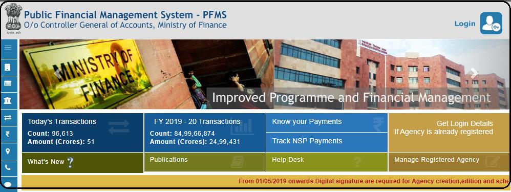 PFMS Scholarship list Home page