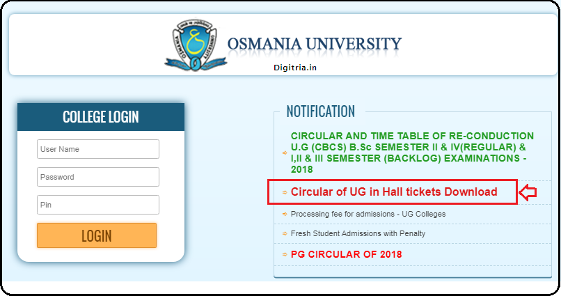 Download OU Degree Hall Tickets 2020 here