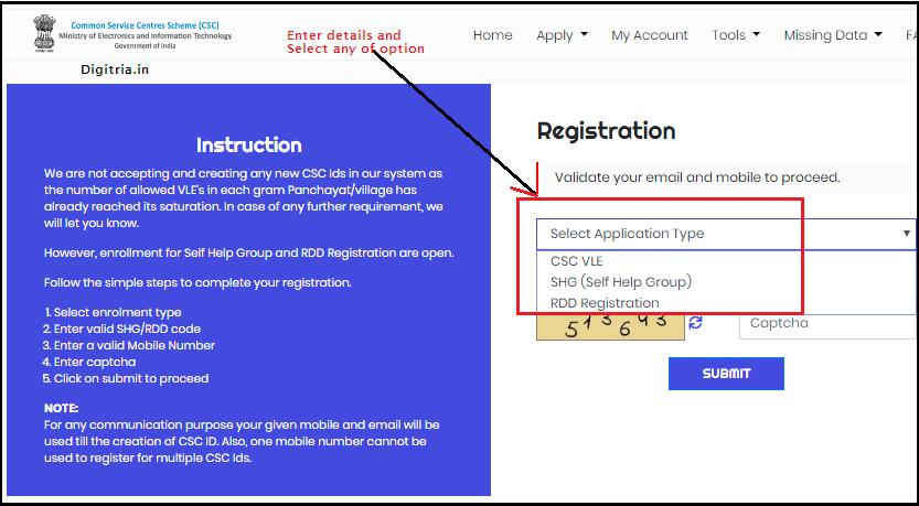 Enter details and Mobile number