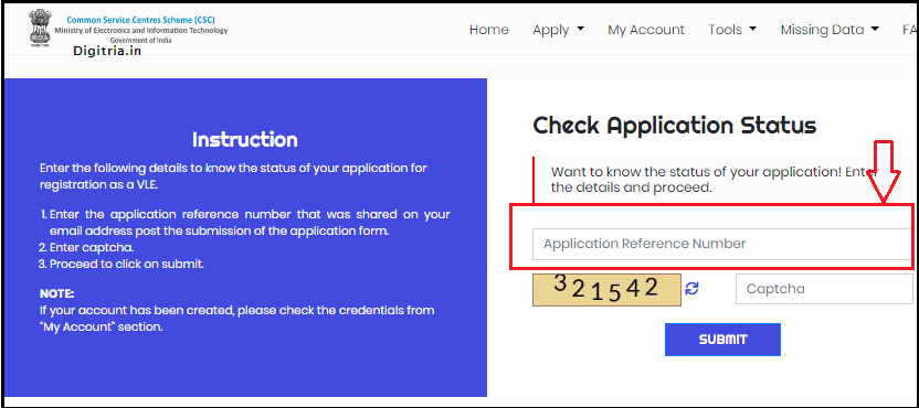 CSC Application Status form