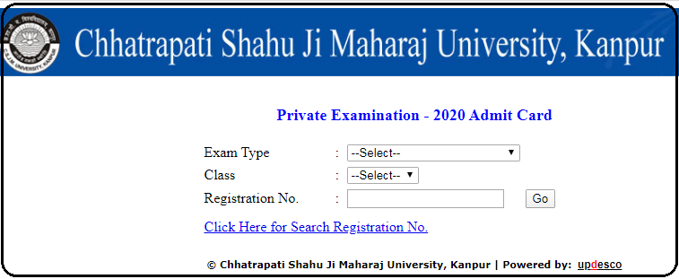 Kanpur University Hall ticket page