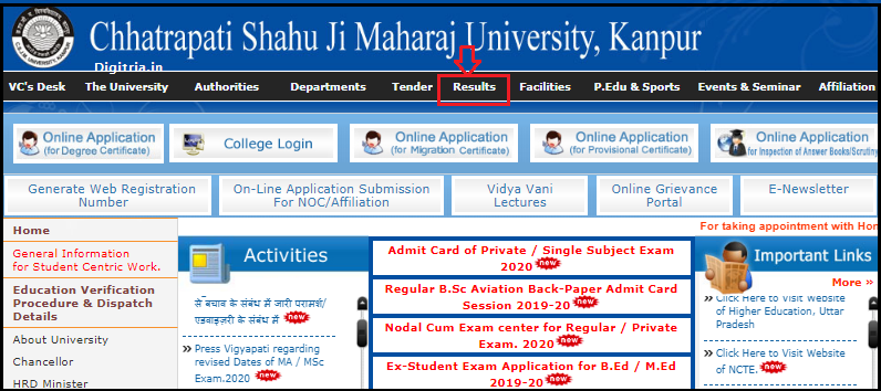 Kanpur University Results page 1