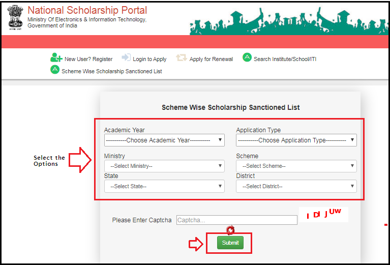 Scheme Wise Scholarship Sanctioned List