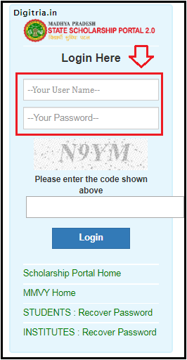 enter user name and password in MP Scholarship 2.0 Portal