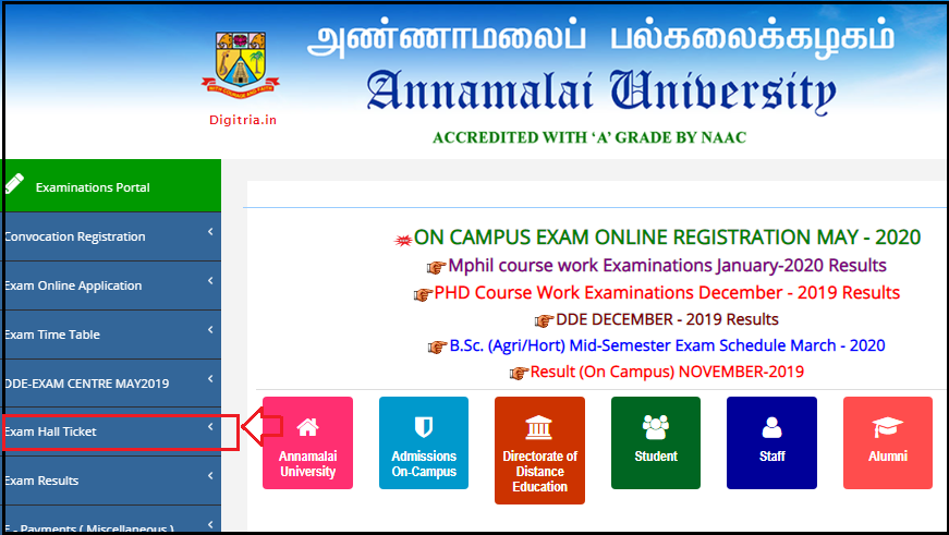 Annamalai University Hall Ticket 2020 home page