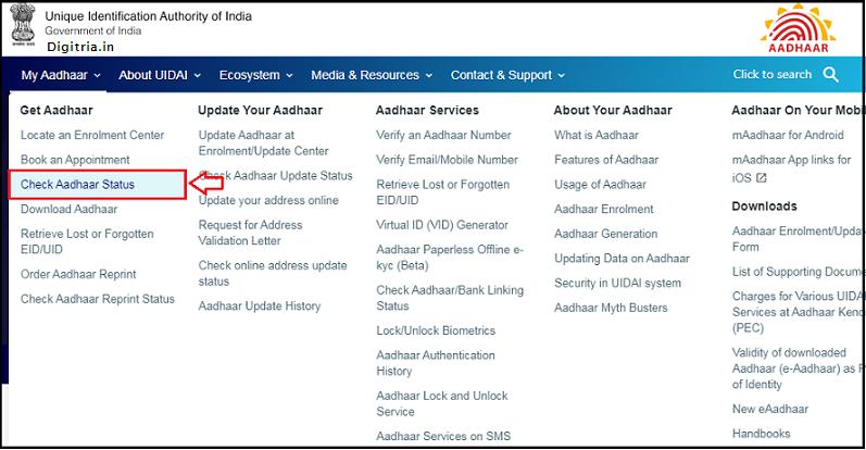 Check Aadhaar Status here