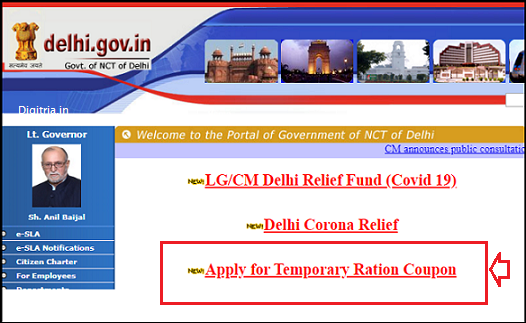 Delhi temporary Ration Card link