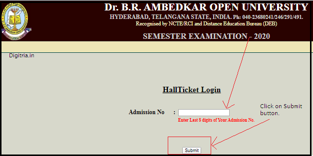 Enter admission number