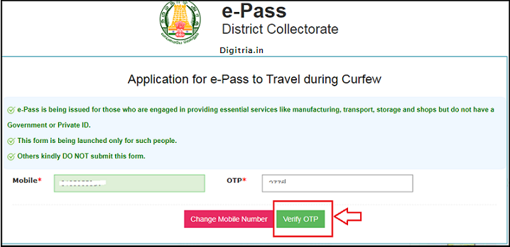 Tamil Nadu COVID-19 e-Pass of  enter phone number