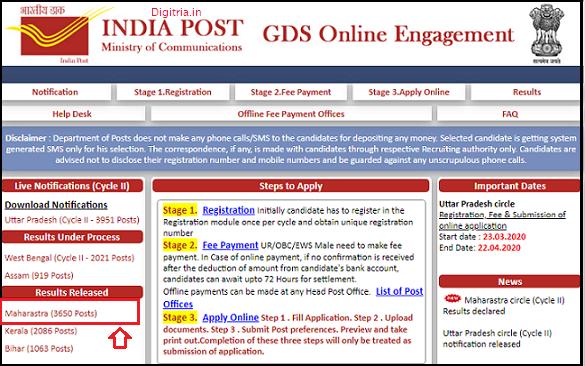 Maharashtra GDS Results 2020