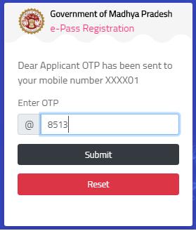 Maharashtra COVID-19 ePass of enter otp