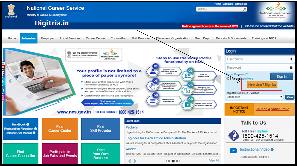 National Career Service Sign up option