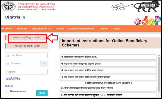 Click on registration option