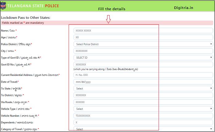 Telangana Migrant Registration & epass of application form 1
