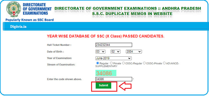 AP SSC Marks Memo page