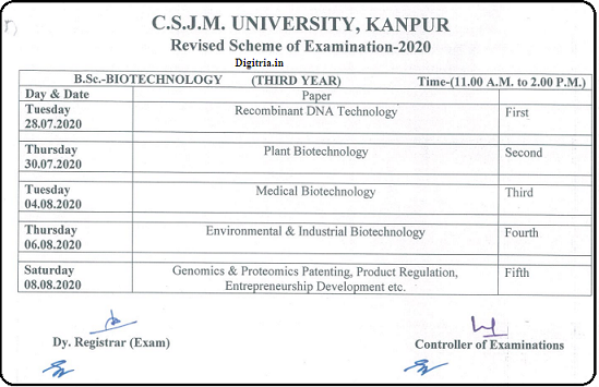 Kanpur University Time Table of BSC Biotech