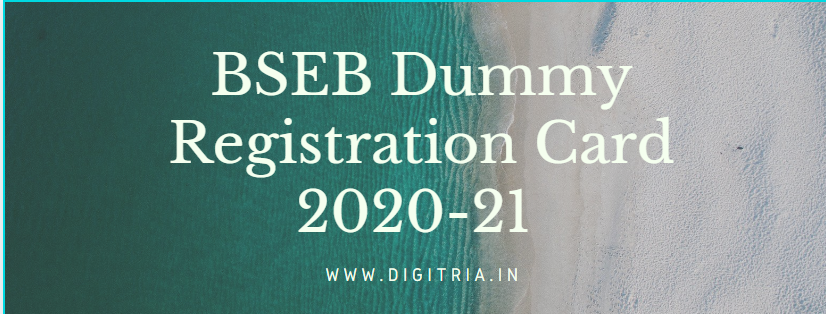 BSEB Dummy Registration card 2020-21