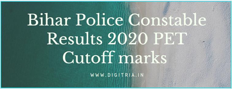 Bihar Police Constable Results 2020