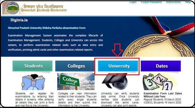 Click on University