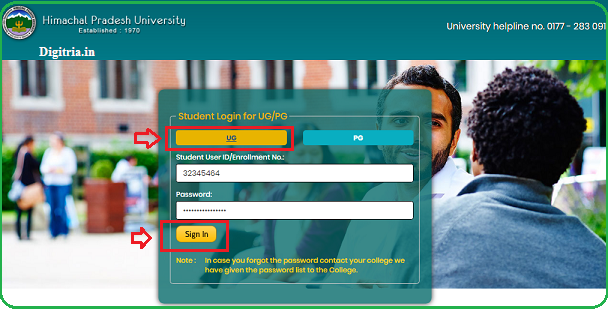 Students login page