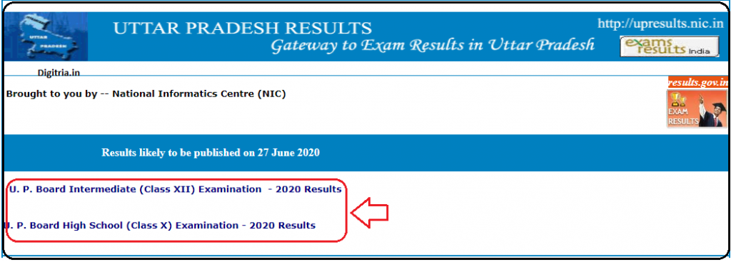 UP 10th 12th class results home page