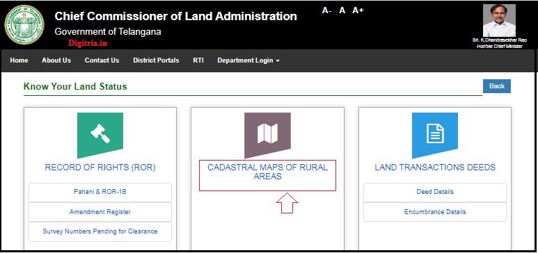 Maa Bhoomi Telangana of Cadastral Maps of Rural Areas