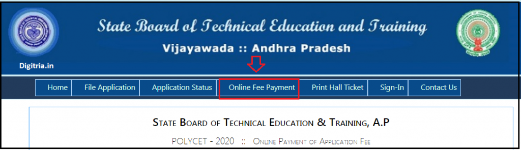 Click on online payment AP POLYLCET 2020