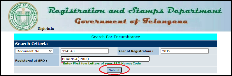 Click on submit button of Maa Bhoomi Telangana
