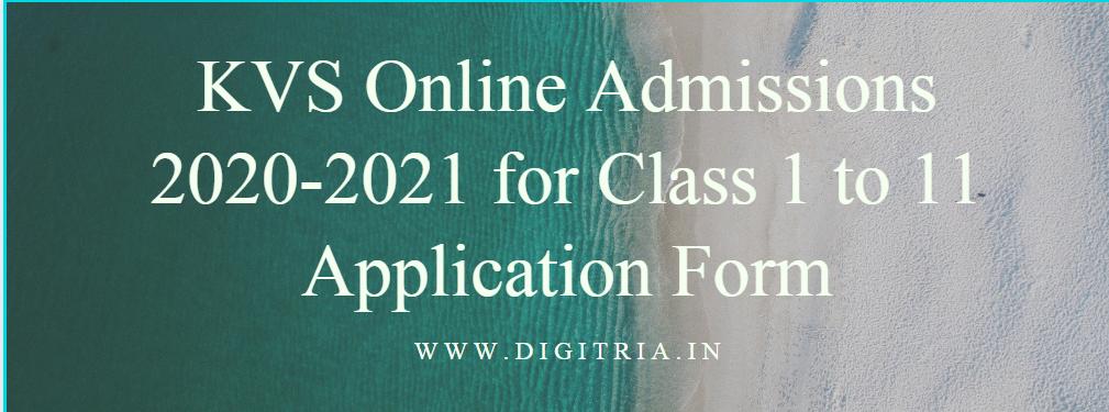 KVS Online Admissions 2020-21
