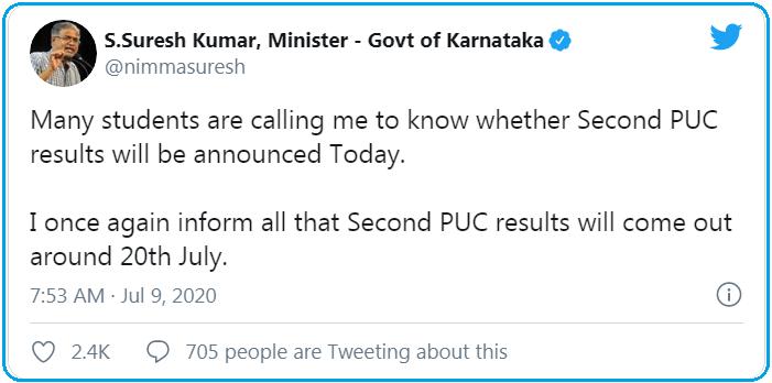 Karnataka 2nd PUC tweet