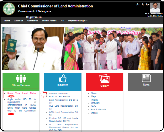 Know your Land Status link