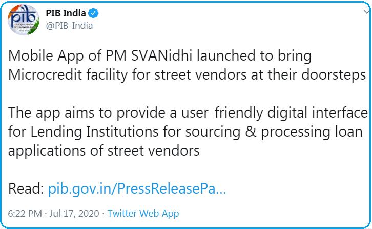 PIB Official Tweet about the PM Svanidhi app