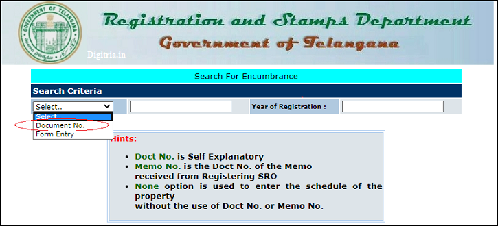 Select document or Form Entry of Maa Bhoomi Telangana