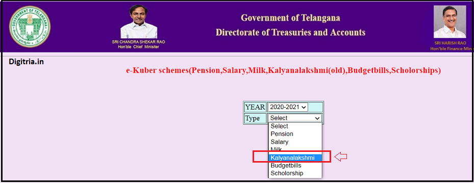 Select kalyanalakshmi  option