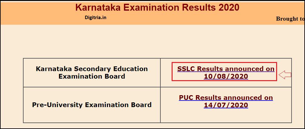 Click on SSLC Results link