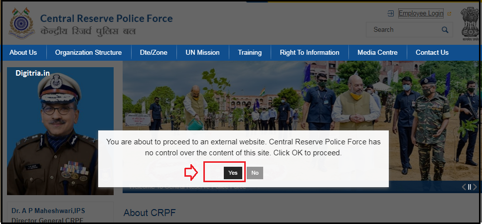 CRPF Pay Slip Login of yes Page