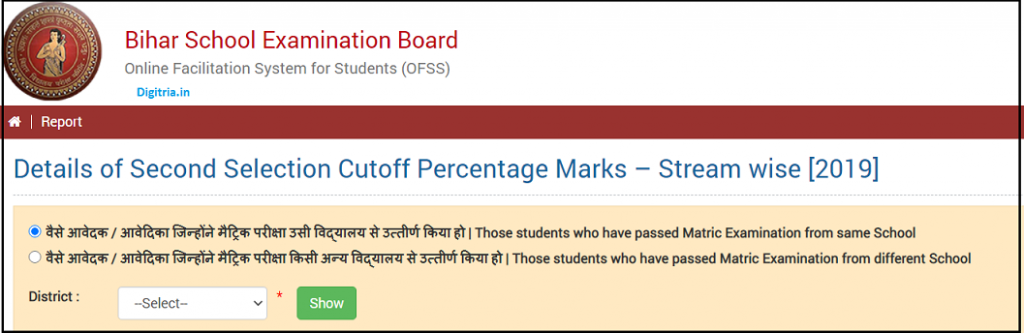 Details of Second Selection Cutoff Percentage Marks – Stream wise [2019]