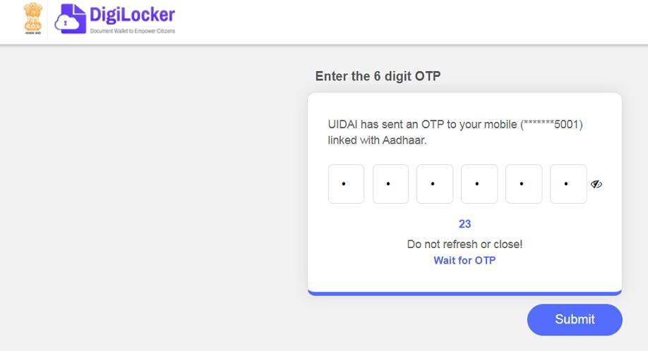 Enter OTP at DigiLocker Online Portal