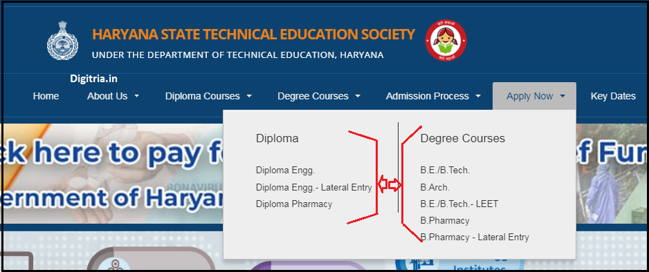 Haryana Polytechnic Application Form and Select course