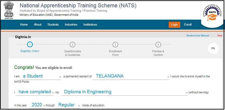 Select details of NATS Online Registration