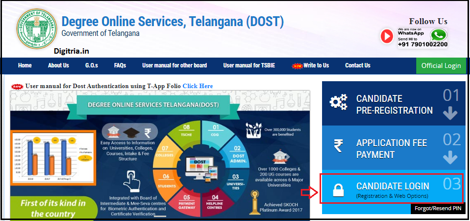 TS DOST 1st Phase Candidates login page