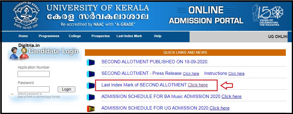 Click on last index mark