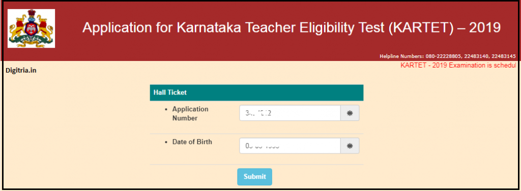 Enter application Number and date of birth